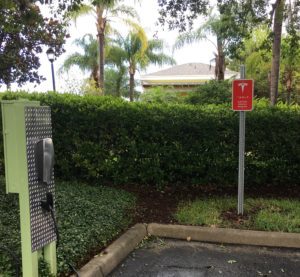 Power charging station for electric or hybrid vehicles in Bahama Bay Resort